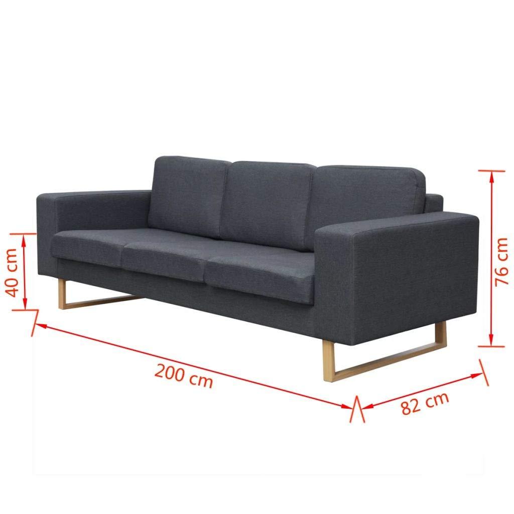 mewmewcat Bequeme Sofa 3-Sitzer-Sofa Couch Loungesofa Wohnzimmersofa Stoffsofa Holzrahmen 200 x 82 x 76 cm Dunkelgrau