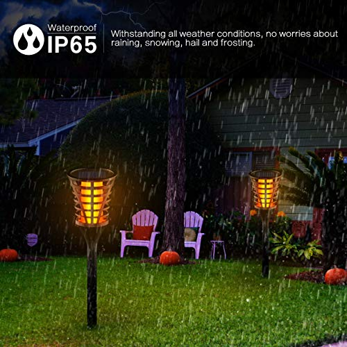 InnoGear Solar Lights Outdoor, Upgraded LED Flame Light 3 Working Modes Flicker Flickering Torch Wall Path Light Waterproof Spotlights Decorative In-Ground Landscape Lighting Auto On/Off, Pack of 4 by InnoGear (Image #4)