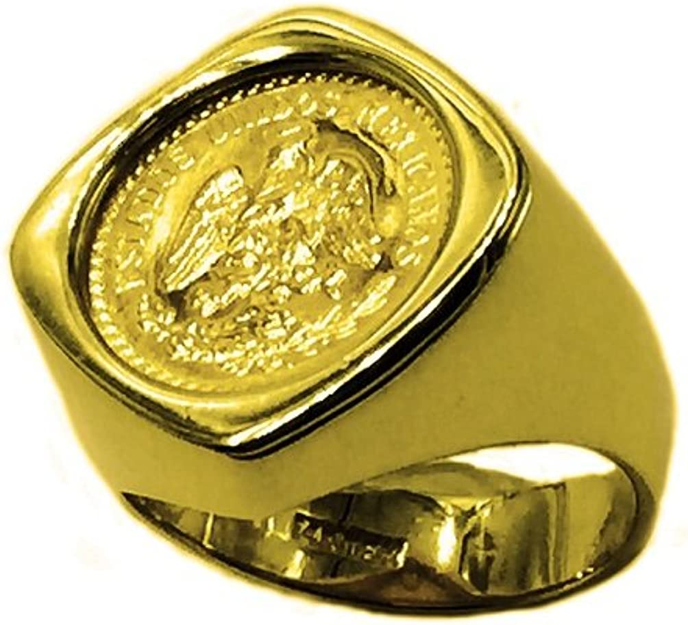 TEX 14K Yellow Gold 20 Mm Coin Ring with A 22K Mexican (Dos 2 1/2) Pesos Coin