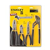 STANLEY STHT80988 4pc Plier Set With Bonus 6 Adjustable Wrench, Includes Bonus Bag