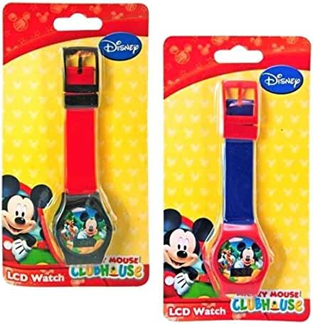 Cute Mickey Mouse Blue Wallet and LCD Watch for Kids