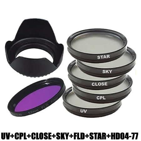 Nikon Sony Pentax Juego de Parasol p/étalo y filtros para Canon Olympus DynaSun 62/mm, polarizador, Skylight, UV, Efecto Estrella, Macro y FLD Panasonic y Fujifilm Samsung