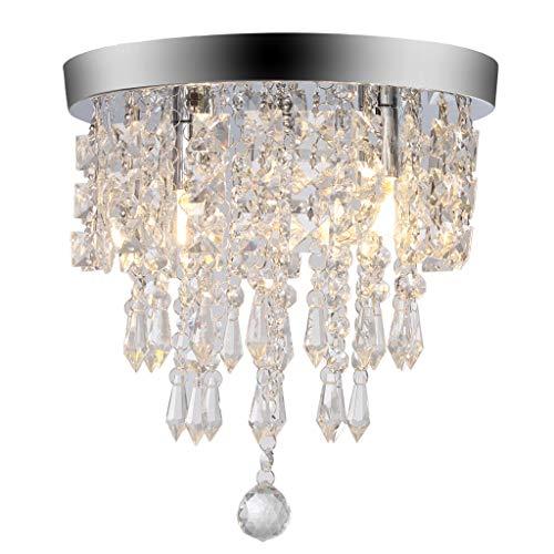 (Alelife 2019 Ceiling Chandelier Crystal Chandelier Lighting 2 Lights Flush Mount Ceiling Light G9 Design)