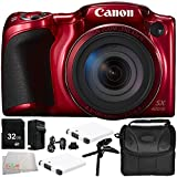 Canon PowerShot SX420 IS Digital Camera (Red) 8PC Accessory Bundle – Includes 32GB SD Card + Carrying Case + 2 Replacement Batteries + MORE