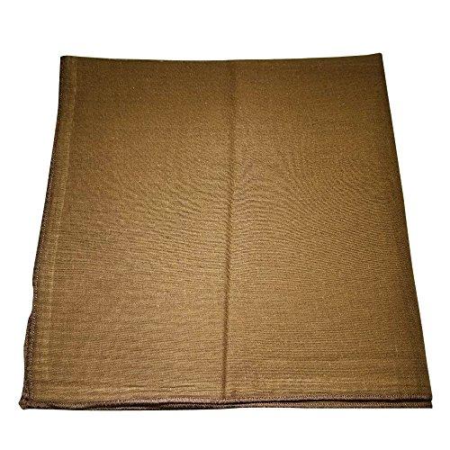 One Dozen Solid Plain Colors 100% Cotton Bandana - 12 Pack by M.H.I. ( 14 Colors) (Brown)]()