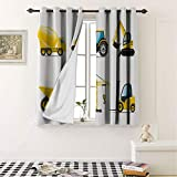 Thermal Insulated Grommet Blackout Curtains Boys Room Cartoon Style Heavy Machinery Truck Crane Digger Mixer Tractor Construction Yellow Grey for Nursery & Playroom 55 by 63 in -  Mozenou
