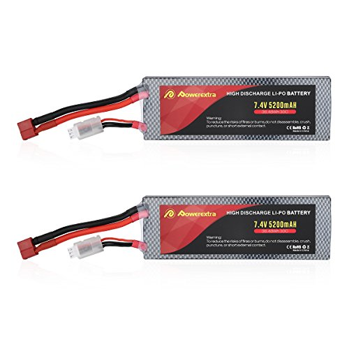 Powerextra 2 Pack 7.4V 2S Lipo Battery 5200mAh 30C Lipo Battery with Dean-Style T Connector for RC Quadcopter Drone and FPV Li-Po Battery