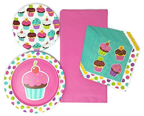 Kids Party Plates Napkins and Tablecloth Cupcake Theme Bundle of 4, Service for 10