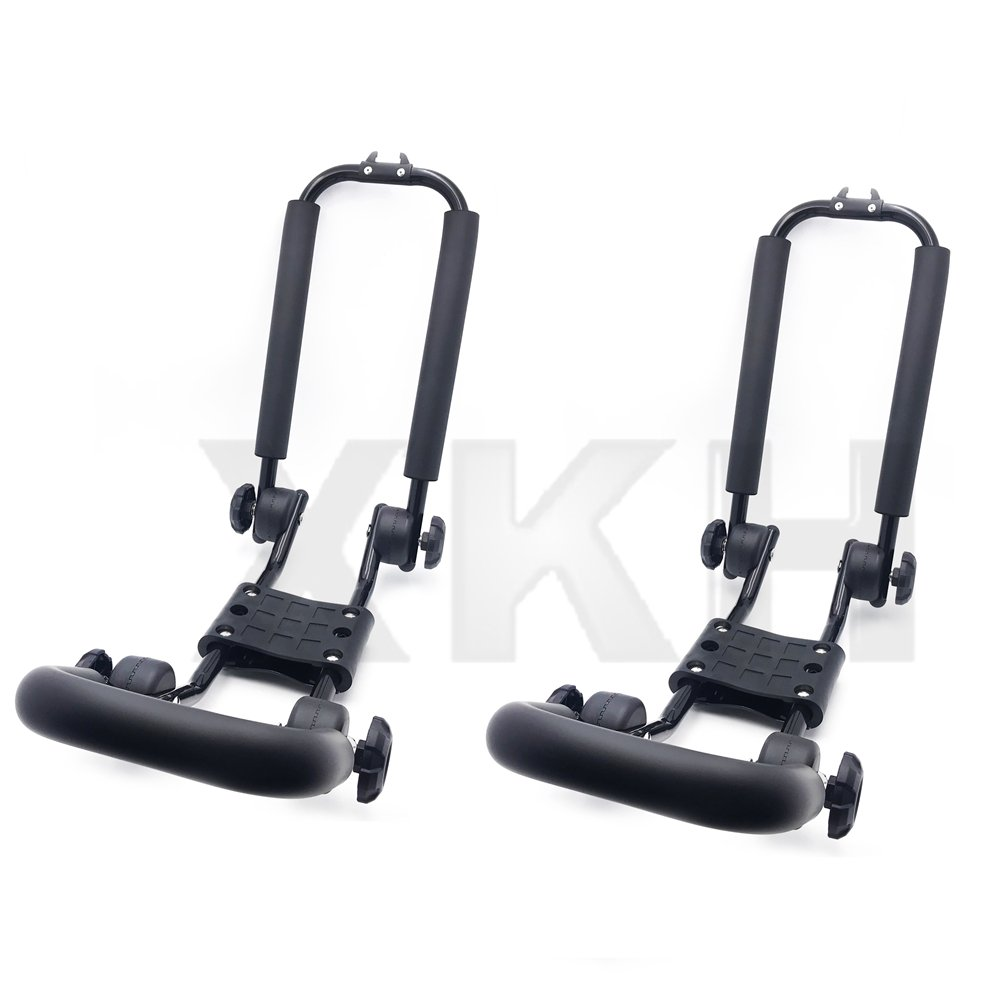 XKH- Foldable Kayak Carrier Boat Canoe Fold Rack Holder Snowboard J-Bar Roof Top Pair