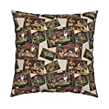 Roostery Dog Velvet Throw Pillow Dogs Playing Poker by Studiofibonacci Cover and Insert Included