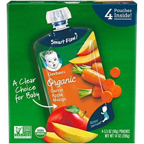 Gerber Purees Organic 2nd Foods Baby Food, Carrot Apple Mango, 14 Oz, 4 Ct ()