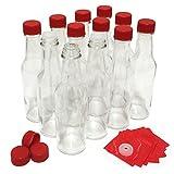 Hot Sauce Bottles with Red Caps & Shrink Bands, 5 Oz - Case of 12 by nicebottles