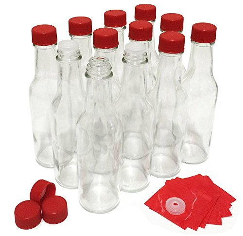 Hot Sauce Jars - Hot Sauce Bottles with Red Caps & Shrink Bands, 5 Oz - Case of 12