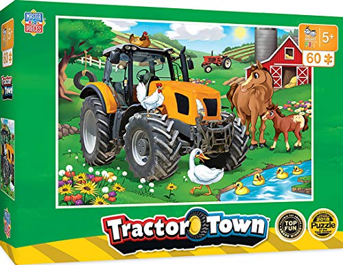 MasterPieces The Right Fit Kids Tractor Town Jigsaw Puzzle, Farmer Miller's Pond, Tillywig Top Fun Award, 60 Piece, for Age 5+