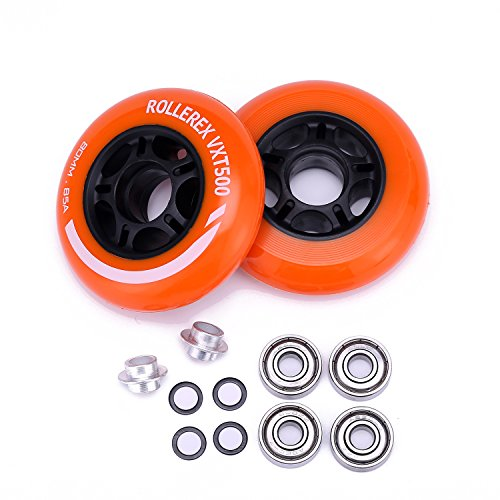Rollerex VXT500 Inline Skate/Rollerblade Wheels (2-Pack w/Bearings, spacers and washers) (Sunrise Orange, 80mm) (Inline Skate Wheel Spacer)