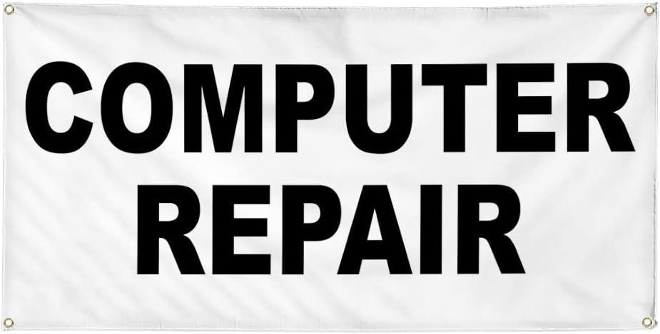 Vinyl Banner Multiple Sizes Computer Repair Black Business Outdoor Weatherproof Industrial Yard Signs 8 Grommets 48x96Inches