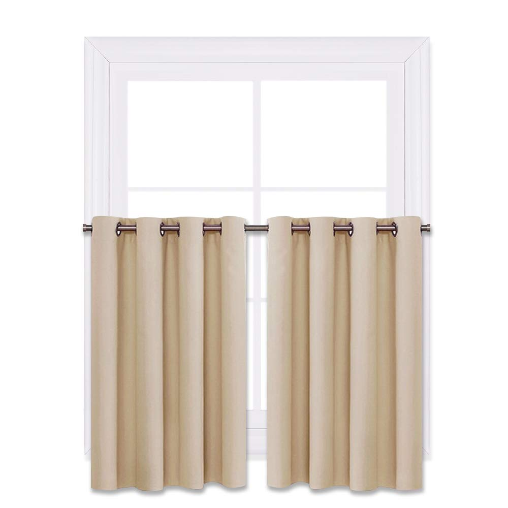 """NICETOWN Window Treatment Kitchen Drapes - Plain Solid Grommet Top Short Curtains for Kitchen Window (Biscotti Beige, 2 Pieces per Pack, 52"""" Wide x 36"""" Long + 1.2"""" Header)"""