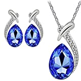 Keliay Crystal Pendant Silver Plated Chain Necklace Stud Earring Jewelry Set