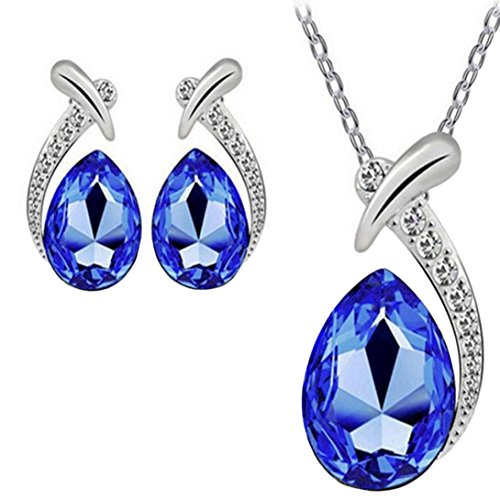 Keliay Crystal Pendant Silver Plated Chain Necklace Stud Earring Jewelry Set (Dark Blue)