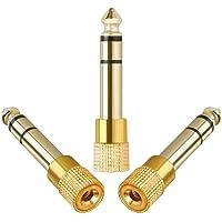Anpro 3PCS Adapteur Jack Audio Contacteur 6.35mm/6.5mm Mâle vers 3.5mm Femelle -Or