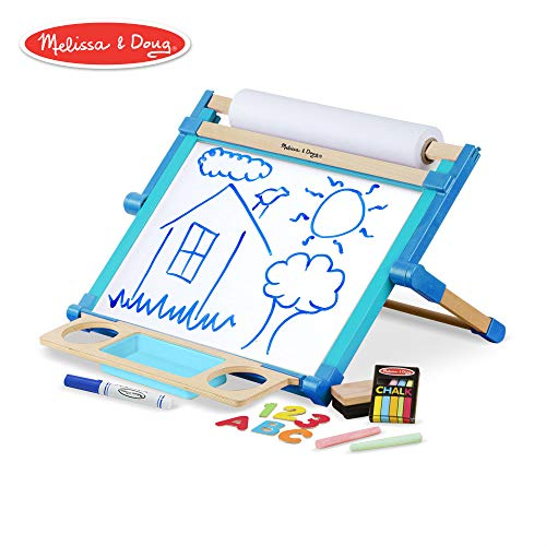 (Melissa & Doug Deluxe Double-Sided Tabletop Easel (Arts & Crafts, Sturdy Wooden Construction, 42 Pieces, 17.5