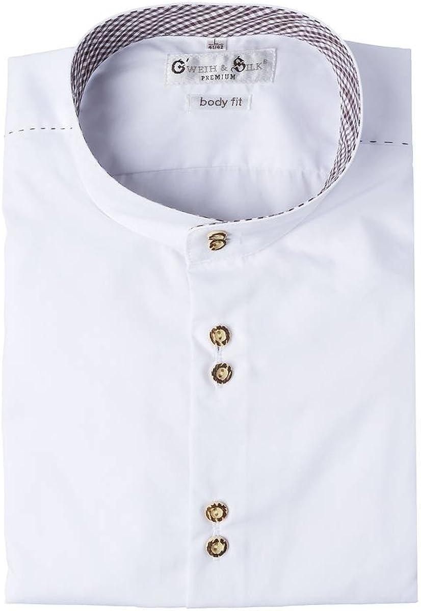 LIegekragen Gweih /& Silk Moser Trachten Trachtenhemd Langarm Wei/ß Tegernsee 112271 von Material Baumwolle