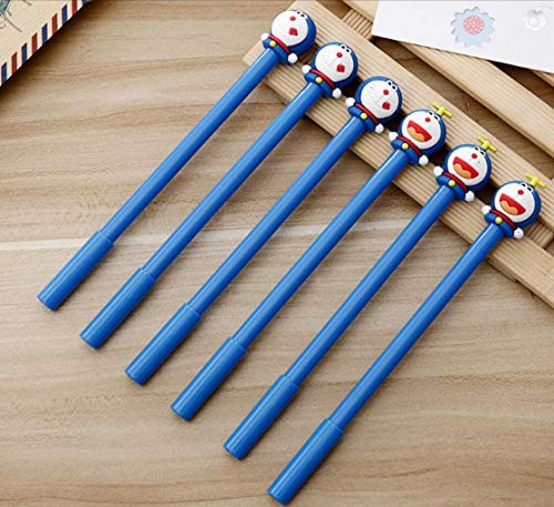 - Thedmhom 14 Pcs 2018 New Cute Kawaii Cartoon Anime Happy Blue Smile Robot Jingle Cat Roller Ball Gel Pen with 0.5mm Point Black Ink Pens Ballpoint Stationery Prizes Office School Student Kids Toy Gift