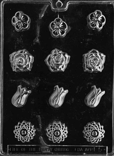 Cybrtrayd Life of the Party F005 Assorted Flowers Chocolate Candy Mold in Sealed Protective Poly Bag Imprinted with Copyrighted Cybrtrayd Molding Instructions
