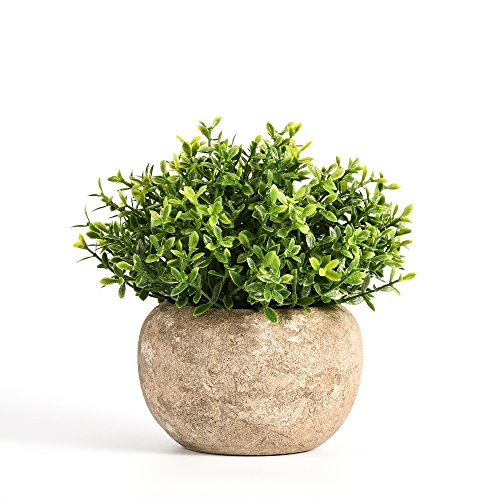 Artificial Plant Potted Green Round Retro Fake Plant for Bedroom Home Decor 5 Inch x 5 Inch Fake Mini Pot Plant
