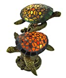 Resin And Glass Accent Lamps Tiffany Style Swimming Sea Turtles Lamp Amber And Green Glass 10 X 14 X 10 Inches Multicolored