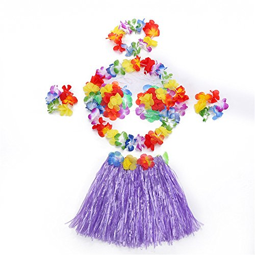 Rhythmic Gymnastics Costumes Designs (Hawaii Dancing Mahalo Floral Costumes Child Lei & Grass Skirt Hula Set, 6-Piece, Purple, 12