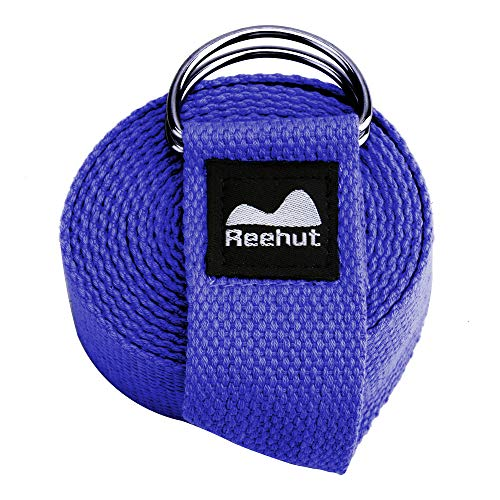 REEHUT Yoga Strap (6ft, 8ft, 10ft) with Ebook - Durable Polyester Cotton Exercise Straps w/Adjustable D-Ring Buckle for Stretching, General Fitness, Flexibility and Physical Therapy