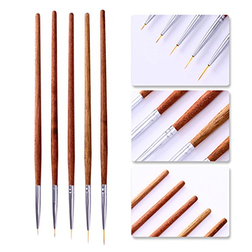 Gel Nail Brush Set Redwood Handle Acrylic Drawing Brush Liner Painting Sculpture Carving Pen Nail Art Manicure Tools 5Pcs Brush Liner by Transfer Rose