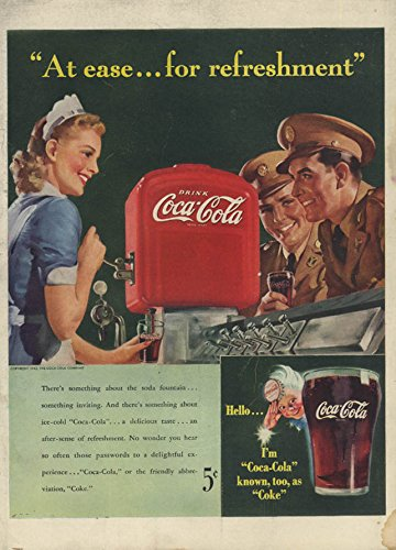 At ease for refreshment Coca-Cola ad 1942 servicemen lady soda jerk L from The Jumping Frog