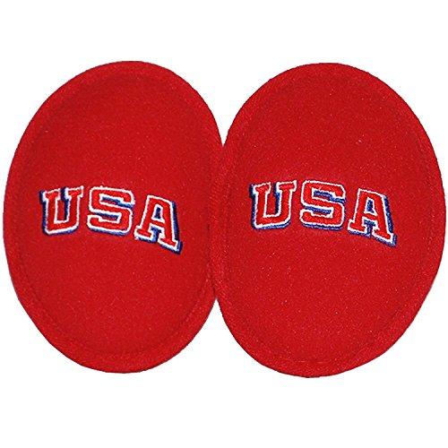 Ear Mitts Bandless Ear Muffs, Red Fleece Ear Warmers W/USA Embroidery, - Usa Muff Big