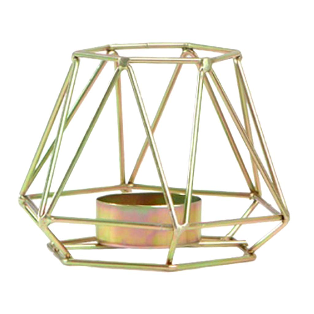 Homyl 3D Geometric Candle Holder Candlestick Stand Candlelight Dinner Decoration - Gold L