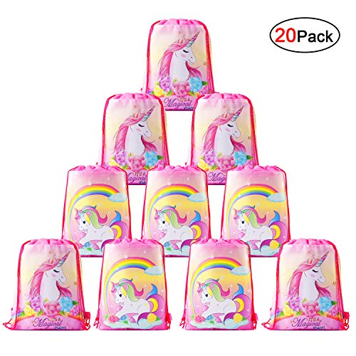 Konsait Cute Unicorn Drawstring Backpack Bags for Kids Girls, Gift Treat Goody Birthday Party Favor Bags, Unicorn Party Supplies Bags Bulk (20 Pack)