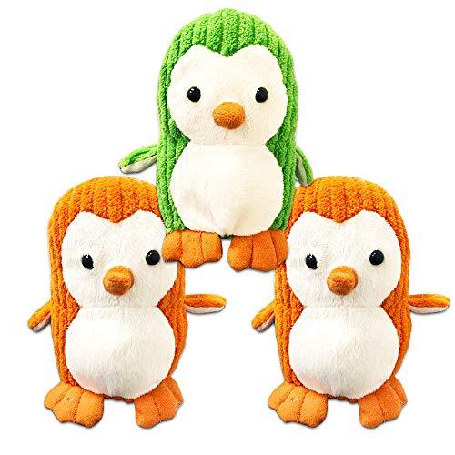 Penguin Plush Party Favors Set -- 3 Large Plush Beanie Penguins, Assorted Colors, 6 Inches (Penguin Party Supplies, ()