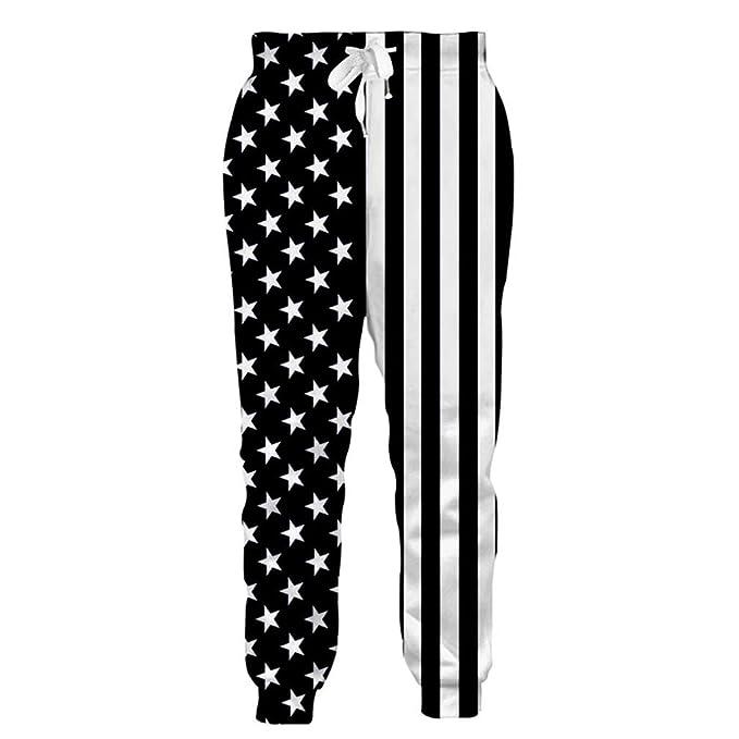 Pantalones de chándal Casual para Hombre Pantalones de chándal Estampados  Pantalones de chándal Hip-Hop para Hombre Raya Estrellas Pantalones Slim  fit Black ... e240f9e38dd