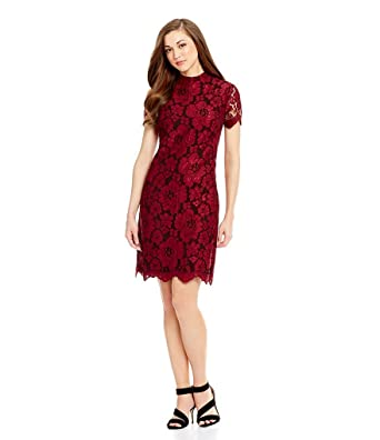 1d6a9d97b9b Antonio Melani Luna Mock Neck Lace Sheath Dress (4) at Amazon ...