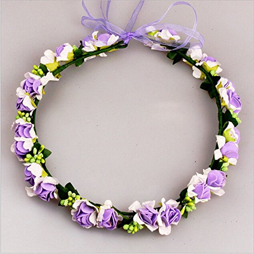 MIJORA-Rose Flower Crown Headband Wedding Prom Beach Floral Garland Hairband For Girl(color:purple