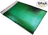10 Pack Metallic Bubble mailers 16 x 17.5. Green padded envelopes 16 x 17 1/2. XXL Large glamour bubble mailers Peel and Seal. Cushion mailing envelopes for shipping, packing, packaging, wrapping.
