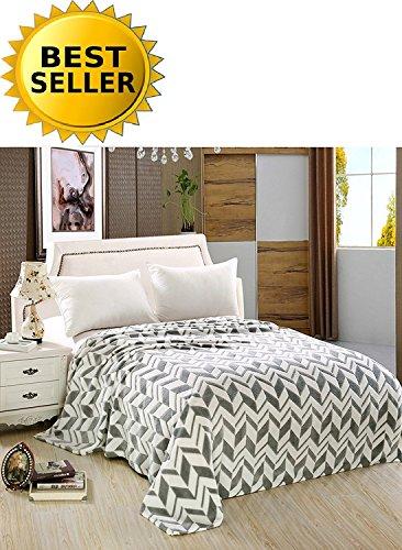 Elegant Comfort #1 Fleece Blanket on Amazon- Luxury Micro-Fleece Ultra Plush Arrow Pattern - All Season Blanket, Full/Queen, Grey - Comfort Luxury Plush