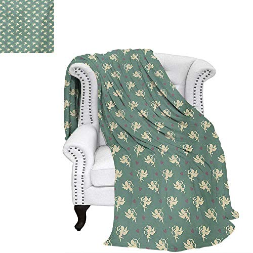 warmfamily Green Summer Quilt Comforter Greek Mythology Inspired Romance Cupid Pattern with Little Hearts Print Digital Printing Blanket 60