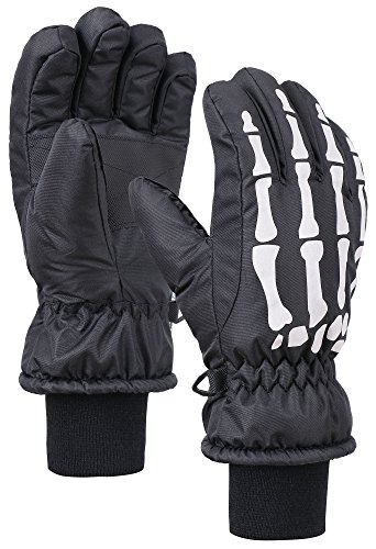 ANDORRA Kids Glow in the Dark Thinsulate Waterproof Snow Gloves, Skeleton, M(7-9Y), Black