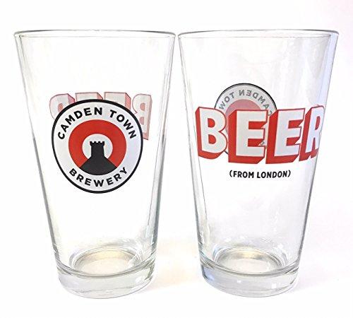 Glass Camden (Camden Town Brewery - Beer From London - 16 Ounce Pint Glass - Set of 2)
