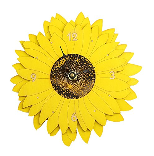 Sunflower Wall Clock - Laser Cut in the USA from Sustainable Wood