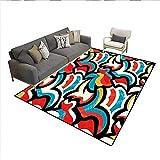 Carpet,Graffiti Inspired Street Art Style Pattern Retro Style Modern Teen Room Urban,Customize Rug Pad,Multicolor 6'x9'