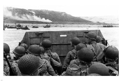 Marines Beach Landing - MARINES beach landing poster 24X36 WW2 WAR history b/w photo GUNS helmets