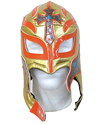 Rey Mysterio Costume Mens (Rey Mysterio Lucha Libre Wrestling Mask (Pro-fit) Costume Wear -Gold Orange)
